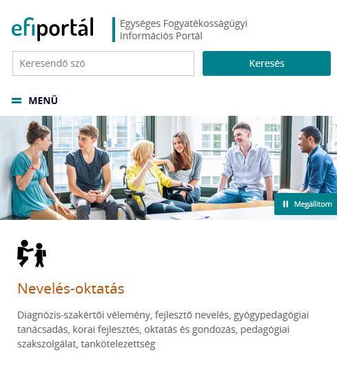 Egységes Fogyatékosságügyi Információs Portál kezdőlapjának képe